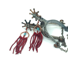 Load image into Gallery viewer, DCS003-C copper dream catcher earrings with red fringe