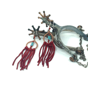 DCS003-C copper dream catcher earrings with red fringe