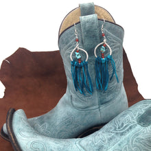 Load image into Gallery viewer, DCS003-S sterling silver dream catcher earrings with turquoise
