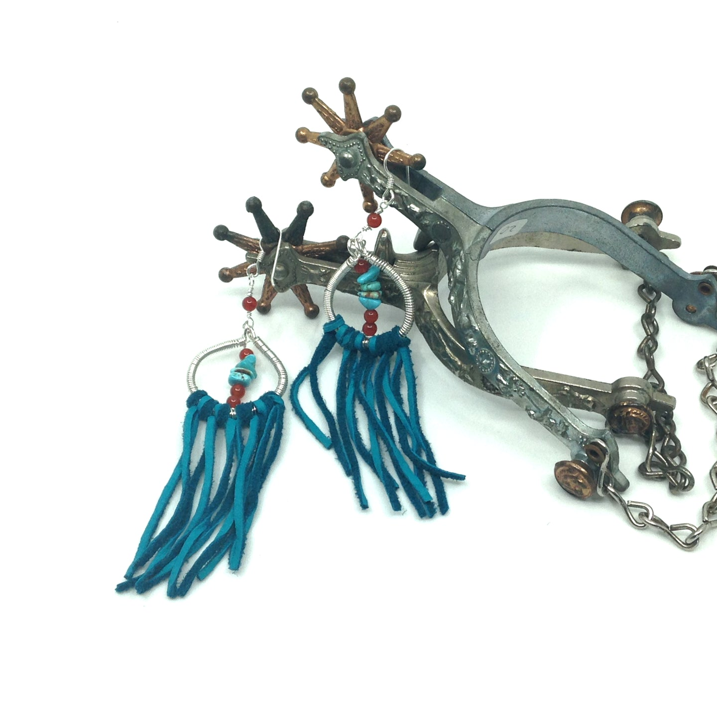 DCS003-S sterling silver dream catcher earrings with turquoise fringe
