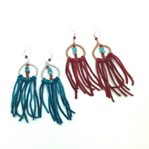 DCS003 dream catcher statement earrings with Kingman turquoise