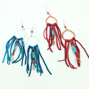 DCG003 statement fringe hoop earrings