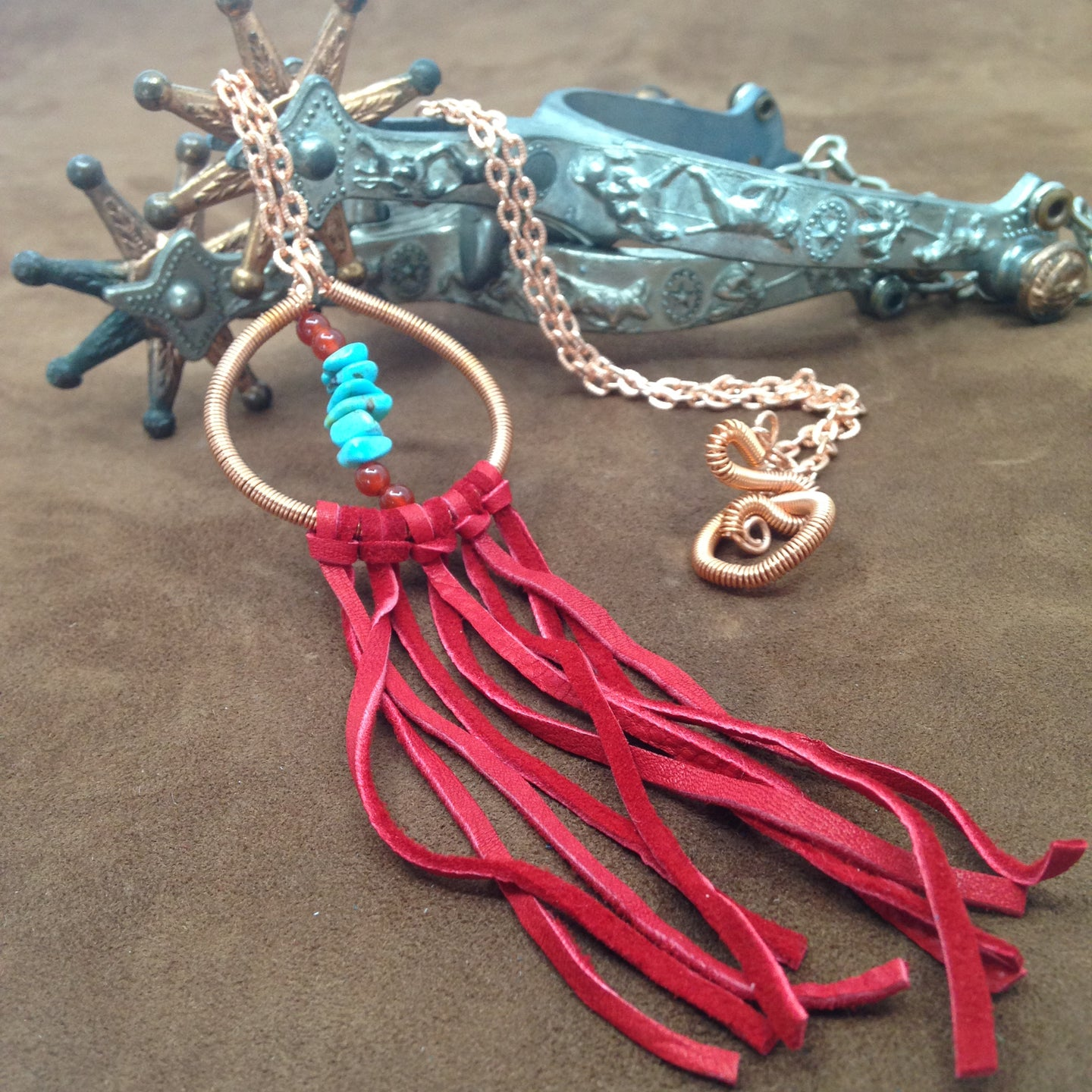 DCG005-C copper dream catcher and turquoise necklace