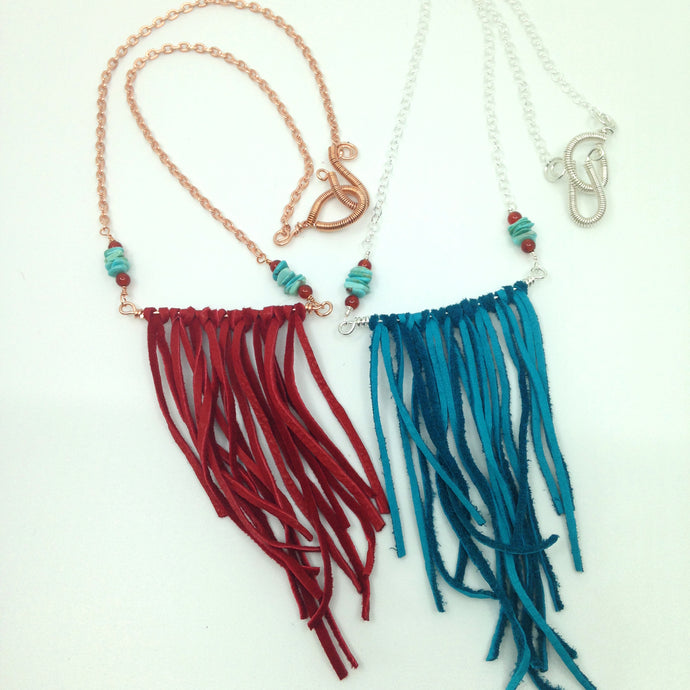 DCG006 boho fringe necklaces with turquoise