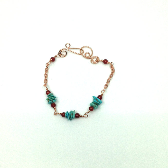 DCG007-C copper and turquoise simple bracelet