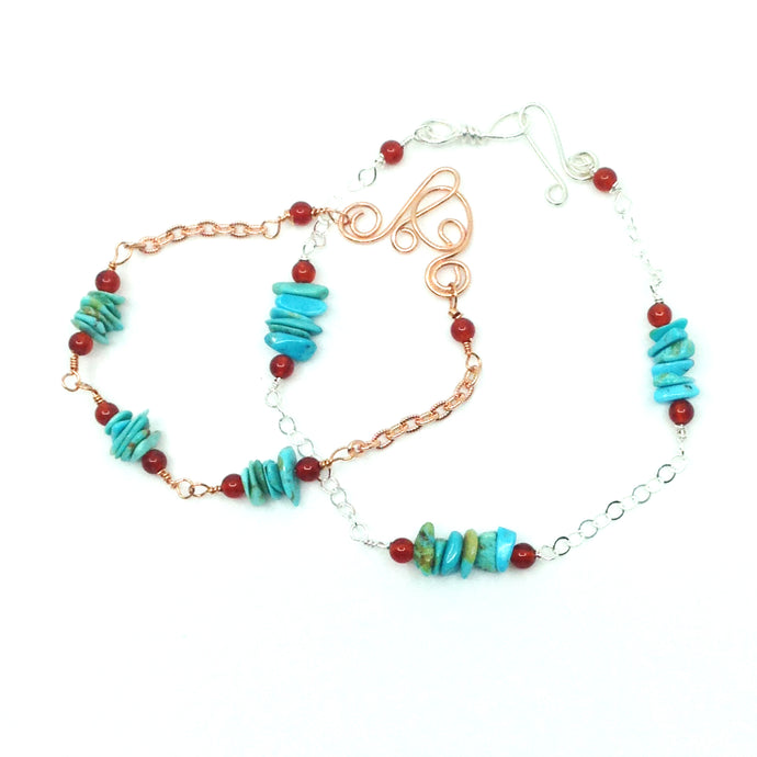 DCG007 turquoise and carnelian stacking bracelet