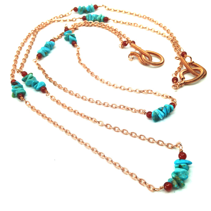 DCG008-C Long turquoise and copper layering necklaces