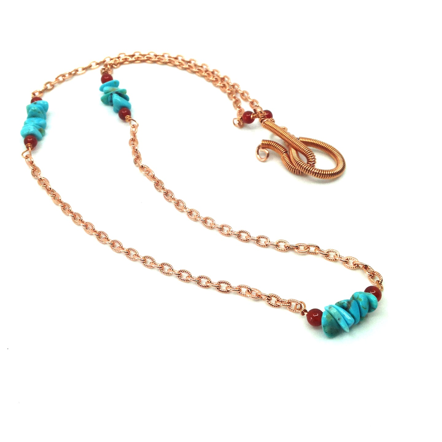 DCG008-C-24 24 inch layering necklace in copper and turquoise
