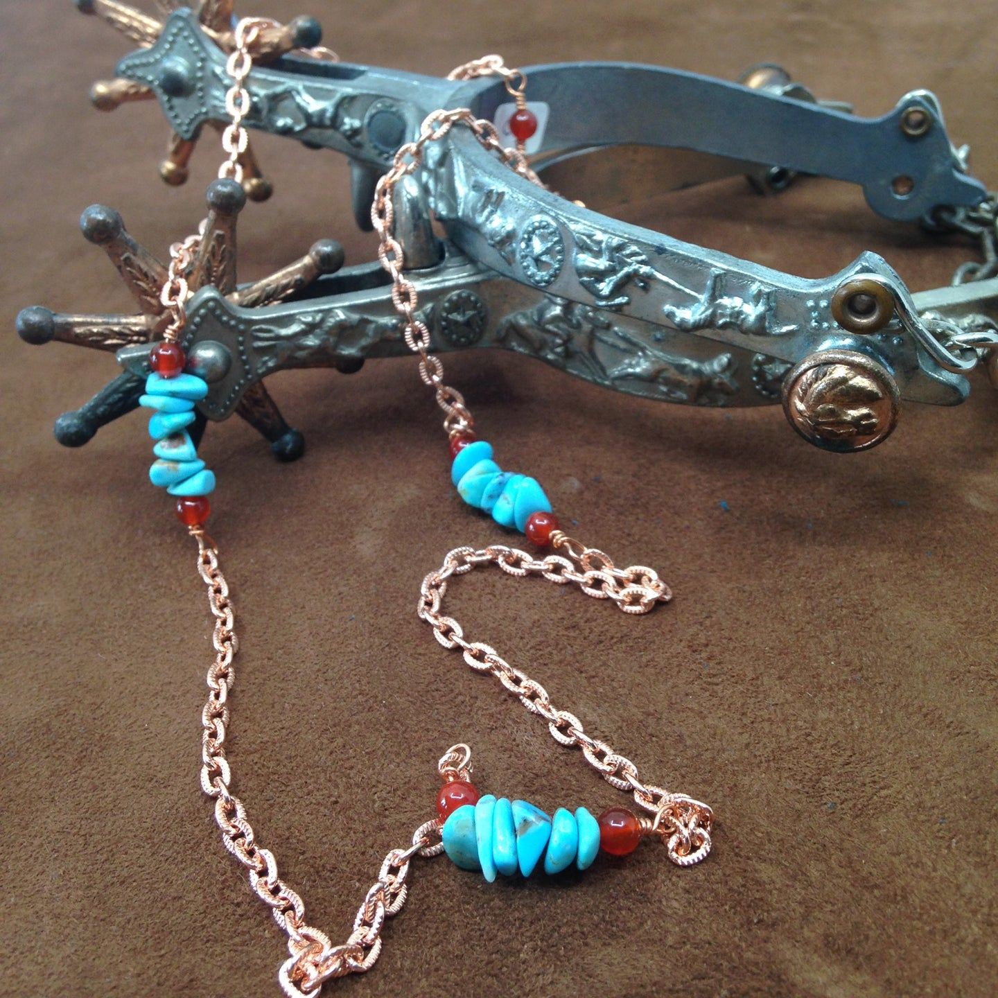 SCG008-C 24 inch copper and turquoise necklace