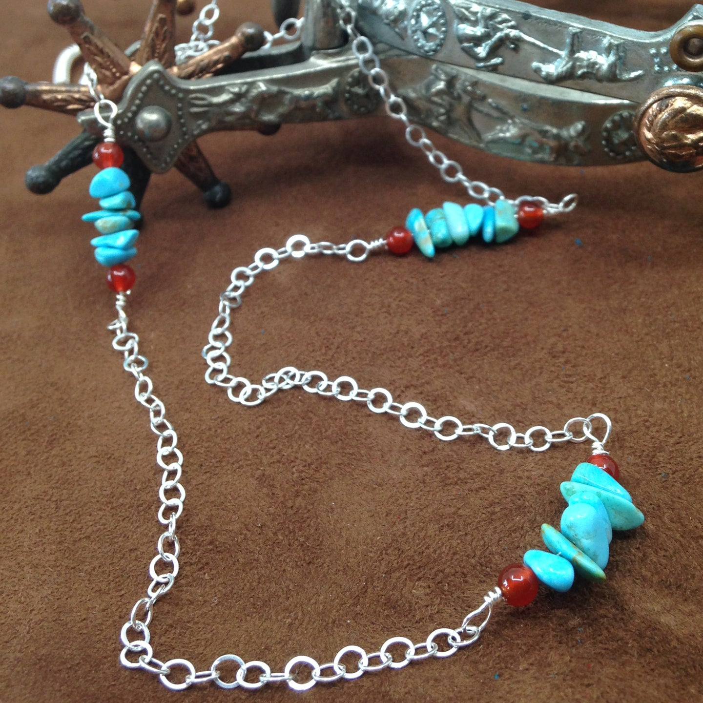 DCG008-S sterling silver and turquoise 24 inch necklace