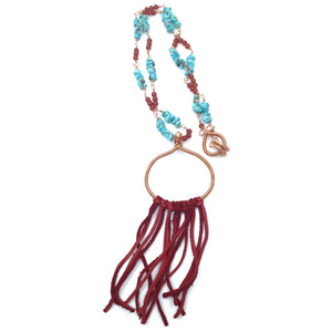 DCS002-C long turquoise necklace with leather fringe