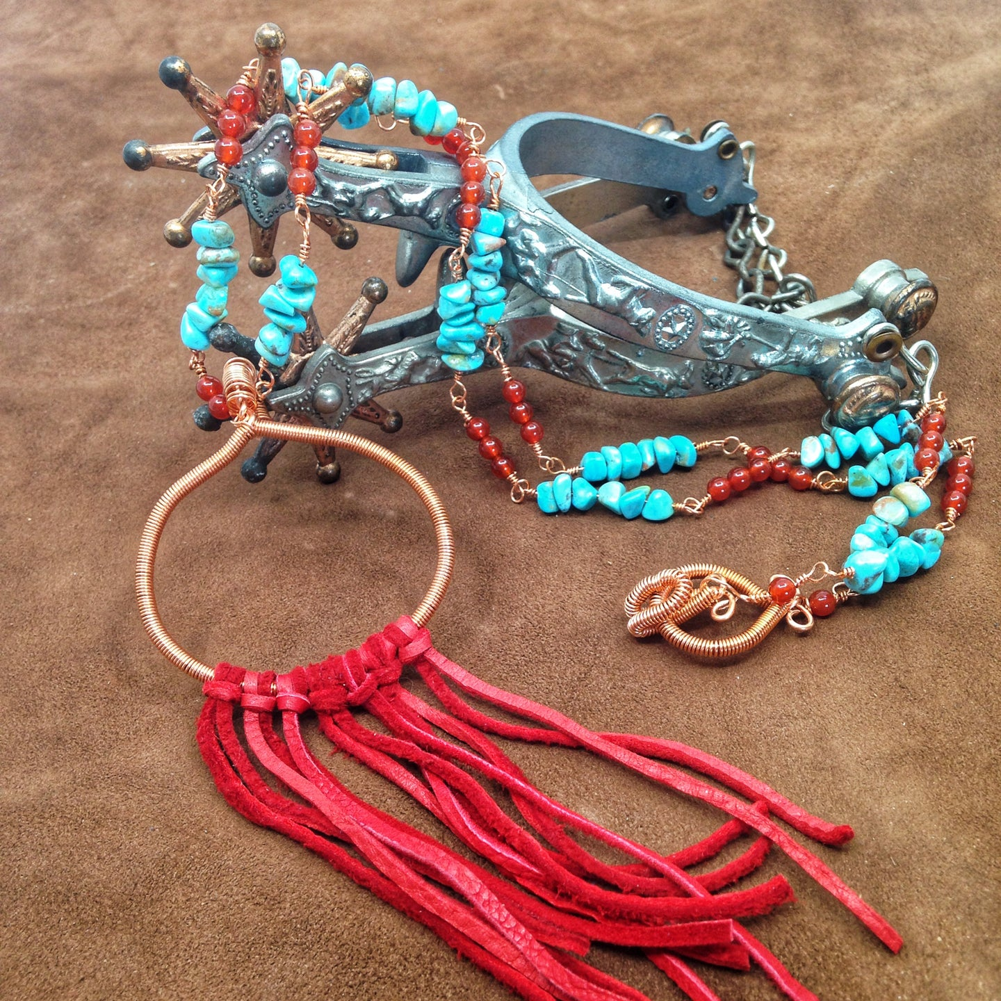 DCS002-C turquoise and copper necklace with fringe