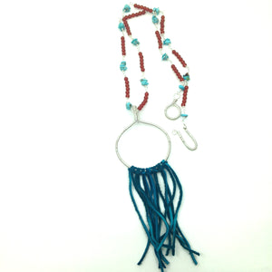 DCS002-S silver statement necklace with turquoise and fringe