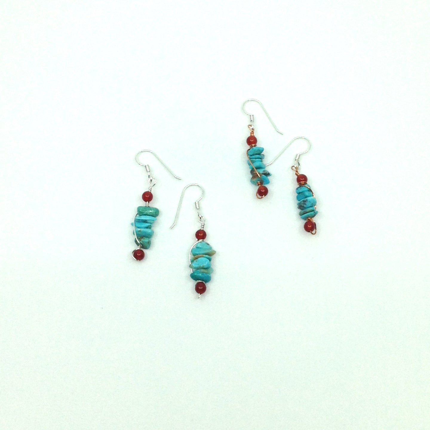 DCU001 simple turquoise drop earrings