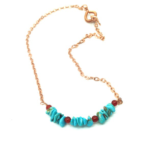 DCU002-C simple turquoise and copper choker