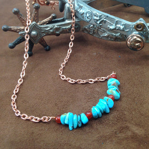 DC002-C turquoise and copper choker necklace