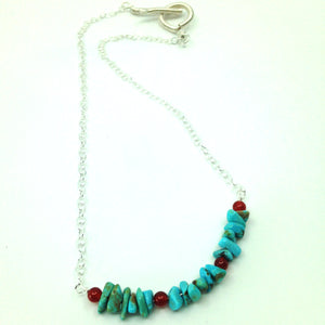 DCU002-S simple sterling silver and turquoise choker
