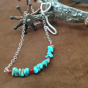 DCU002-S sterling silver and turquoise choker necklace