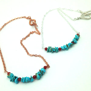 DCU002 turquoise and carnelian choker necklace