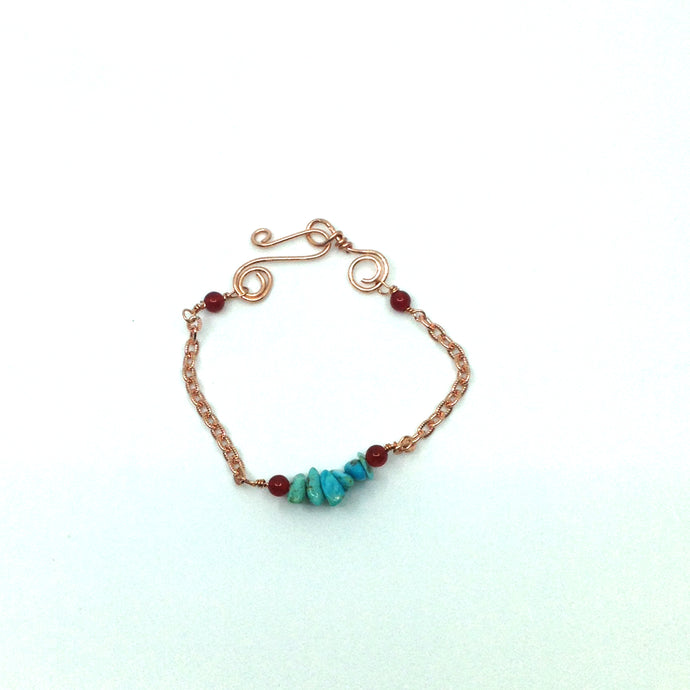 DCU003-C turquoise and copper simple stacking bracelet