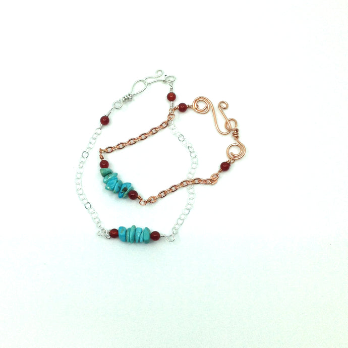 DCU003 simple turquoise stacking bracelets
