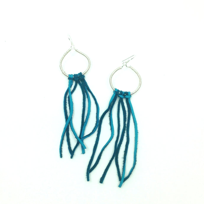 Sterling Silver Hoop Earrings With Turquoise Fringe