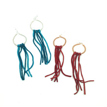 Load image into Gallery viewer, Copper Hoop Earrings With Red Fringe