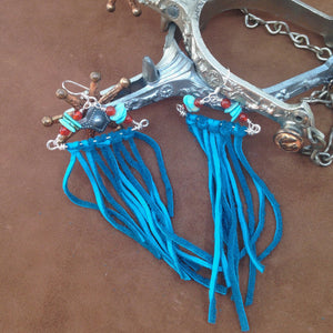 Turquoise Leather Fringe Earrings With Sterling Silver