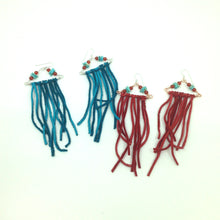 Load image into Gallery viewer, Turquoise Leather Fringe Earrings With Sterling Silver