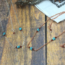 Load image into Gallery viewer, Long Layering Chain Necklace with Campitos Turquoise, Carnelian - Buckaroo Bling