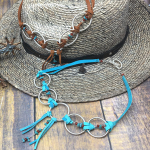 Turquoise, Deer Leather and Coiled Silver Statement Necklace by Buckaroo Bling