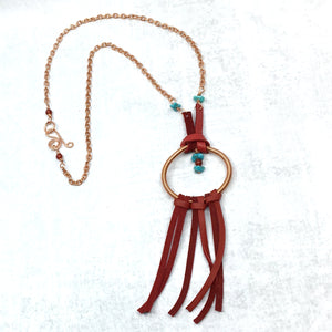 Dream Catcher Necklace with turquoise & red deer leather fringe by Buckaroo Bling