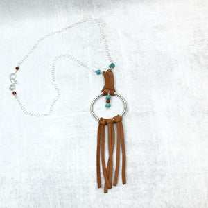 Dream Catcher Necklace - turquoise saddle tan deer leather fringe Buckaroo Bling