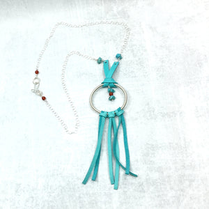 Dream Catcher Necklace - Mexican turquoise turquoise leather fringe Buckaroo Bling