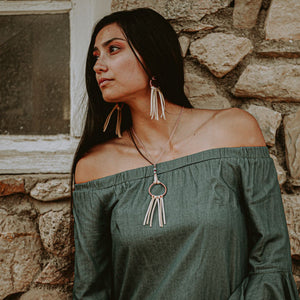 Dreamer Necklace in buckskin leather on model