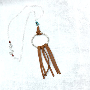 Dreamer saddle tan deer leather fringe necklace with turquoise by Buckaroo Bling