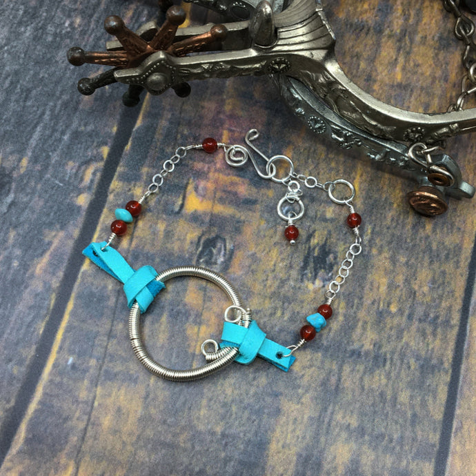 Sterling silver, leather and turquoise bracelet