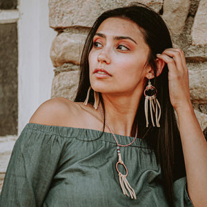 Effortless Dream long buckskin leather fringe earrings