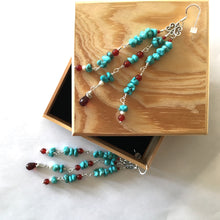 Load image into Gallery viewer, Custom Turquoise, Carnelian, Garnet and Pearl Earrings