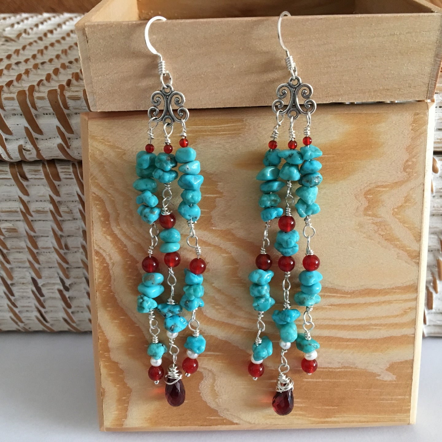 Custom Turquoise, Carnelian, Garnet and Pearl Earrings