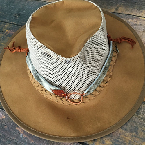 Hair-on hide hat band with aspen leaf dipped in copper