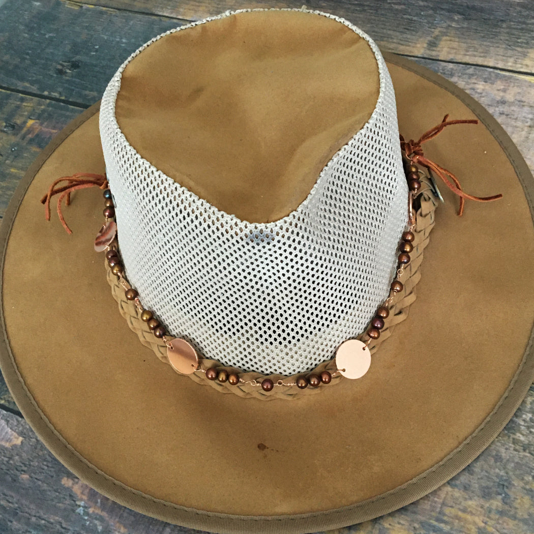 Boho western gypsy style hat band with pearls