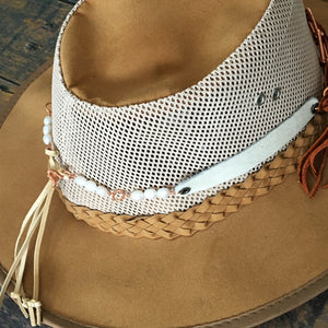 Adjustable deer leather lace tie on hat band