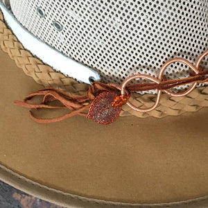Copper dipped aspen leaf and deer leather fringe detail on hat band
