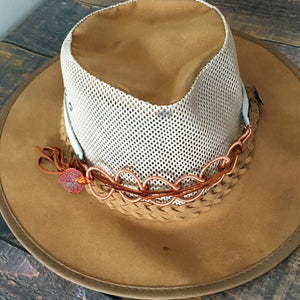 Hat band with aspend leaf and hand coiled copper