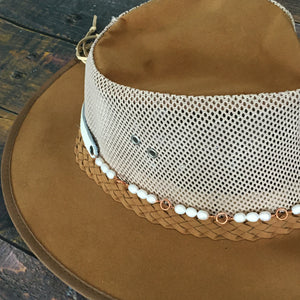 Hat band with white freshwater pearls