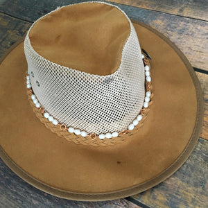 White freshwater pearl and copper hat band