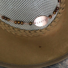 Load image into Gallery viewer, Sassy Hat Band with bronze freshwater pearls, deer hide, and copper