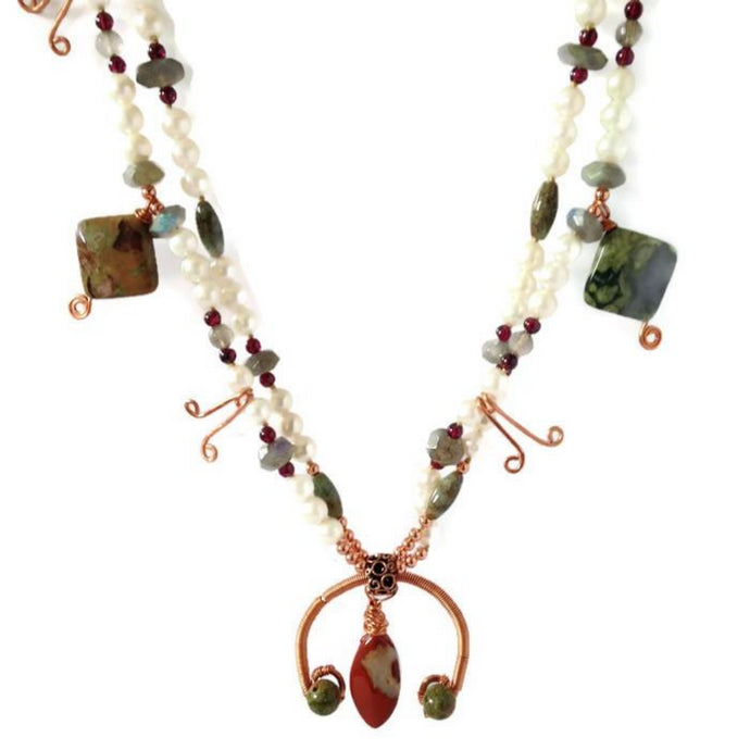 Unique copper squash blossom necklace with pearls and gemstones by Buckaroo Bling