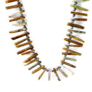 Native Inspired Agate and Pearl Necklace by Buckaroo Bling